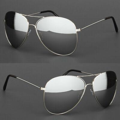 Extra Large Pilot Sunglasses Silver Frame Dark Mirror Lenses Oversized (Oversized Silver Mirror)