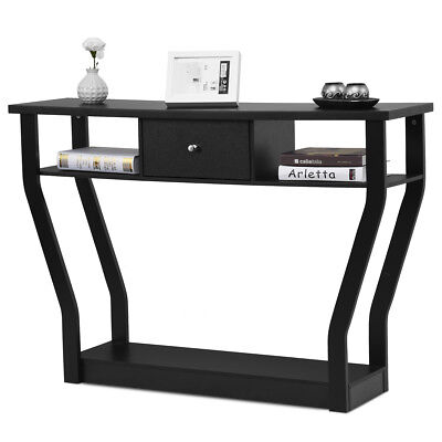 Black Accent Console Table Modern Sofa Entryway Hallway Hall Furniture W/Drawer ()
