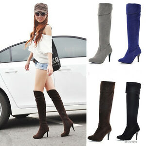 Womens-Ladies-High-Heel-Fold-Knee-High-Side-Zipper-Boots-Shoes-US-All-Size-YB039