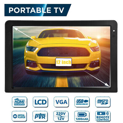 "Portable TV Rechargeable 12"" LED Digital Television HDMI VGA FM USB/SD AC/DC"