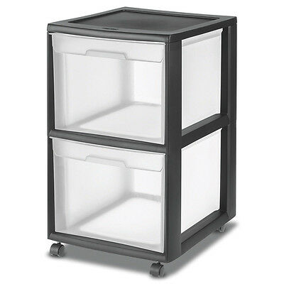 Sterilite 2-Drawer Plastic Black File Cart for Home or Office Storage | 34209001