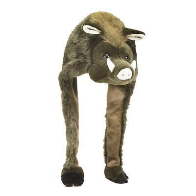 Wildsau Mütze Wildschwein Tier Plüschmütze Unisex Einheitsgröße - lustig & warm - Lustige Mütze