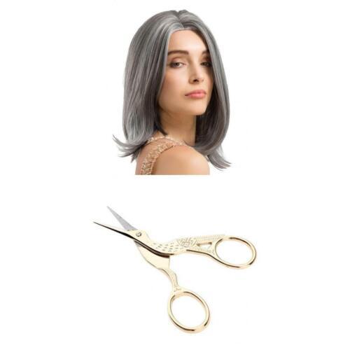 Micro-volume Natural Granny Grey Hair Cosplay Wig & Scissors