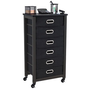 Rolling File Cabinet Heavy Duty Mobile Storage Filing 6 Drawers Black