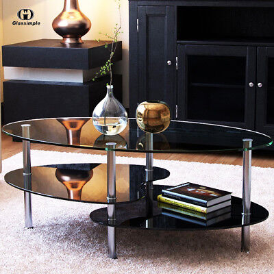 Present-day Black Glass Side Coffee Table Shelf Chrome Base Living Room Furniture