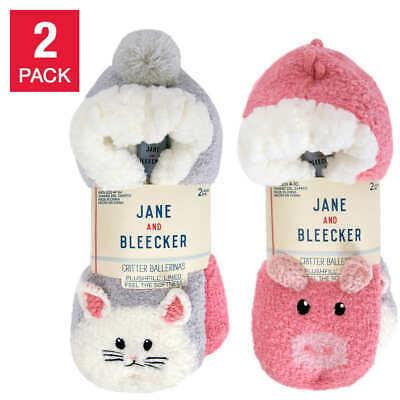 Jane & Bleecker 2 x Pair Ladies SLIPPER Socks Plushfill Lined | UK 2-8 EU 34-42