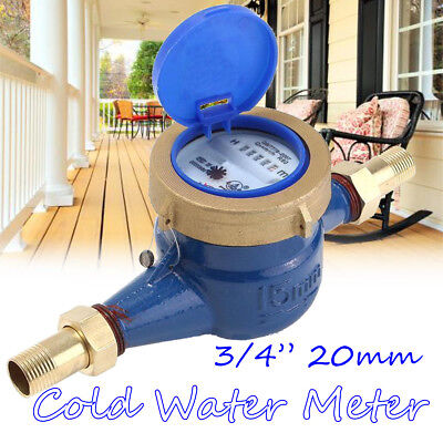 """3/4"""" 15mm Garden Home Brass Flow Measure Tape Cold Water Meter Counter Tools US"""
