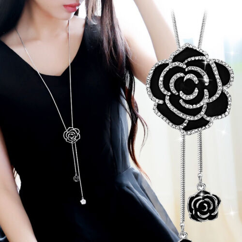 Jewellery - Fashion Black Rose Flower Long Necklace Sweater Chain Crystal Women Jewelry Gift