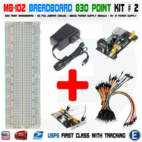 MB102 830 Breadboard Power Supply 65pcs jump cables Arduino 9V 1A Power Supply