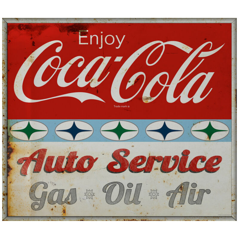 Enjoy Coca-Cola Auto Service Decal 1960s Roadside Style Grunge 24 x 21