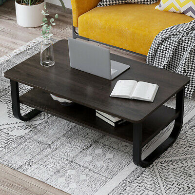 2 Tier Wood Coffee Tea Table Sofa Side Table Shelf Living Room Steel Pipe Home 6