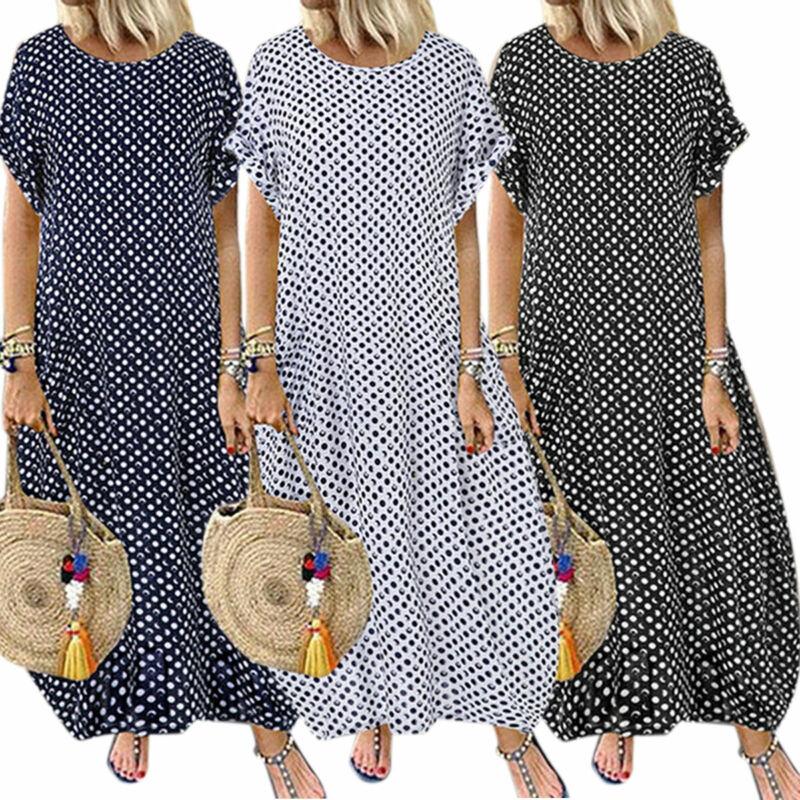 Damen Elegant Kurzarm Sommerkleid Shirtkleid Strandkleid Baumwoll Lang Maxikleid
