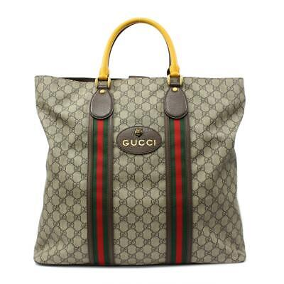 GUCCI Neo Vintage GG Supreme Tote Bag 473870 Canvas Leather Beige Brown Yellow