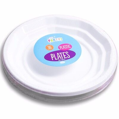 """36 STRONG WHITE PLASTIC DINNER PLATES 7"""" Party Round Lipped Disposable Tableware"""