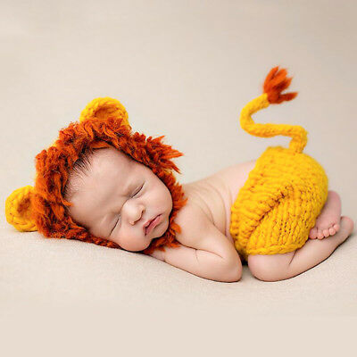 2pcs Newborn Baby Girls Boys Crochet Knit Lion Costume Photo Photography - Newborn Lion Costume