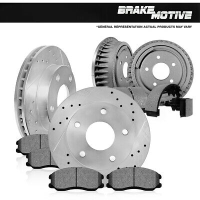 Front Brake Rotors + Ceramic Pads Rear Drums + Shoes For Cherokee Wrangler Jeep Front Brake Drum