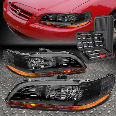 FOR 98-02 HONDA ACCORD BLACK HOUSING AMBER SIDE HEADLIGHT HEAD LAMPS+TOOL SET