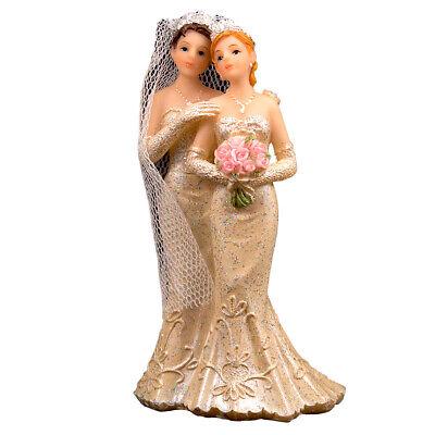 Pareja de Novios Lesbianas 2 Mujeres Mesa Decorativa Pastel Boda Decoración