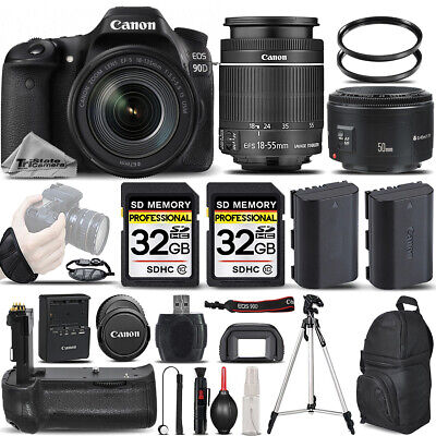 Canon EOS 90D DSLR Camera with 18-55mm STM Lens + 50mm 1.8 +BATT GRIP + 64GB