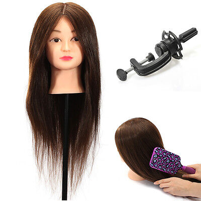 "24"" 100% Real Human Hair Practice Head Training Mannequin + Clamp Hairdressing"