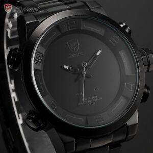 SHARK Black Stainless Steel LED Day Date Quartz Analog Mens Fashion Sport Watch