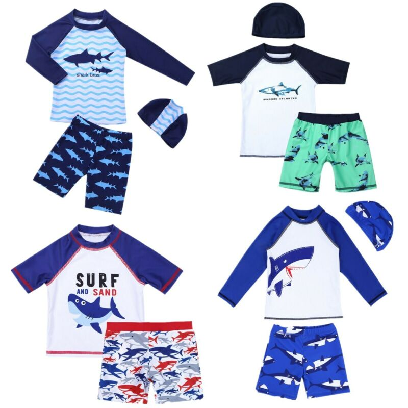 Collager Sun Protective Toddler Boys Swimsuit Toddlers One Piece Swimwear with Hat Shark Rash Guard Surfing Suit UPF 50+