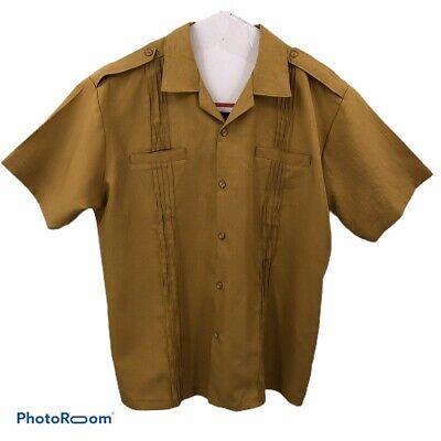 Mens Camp Shirt Ulalei Fashion American Samoa 2XL? Gold Mustard Pleat Front Back image