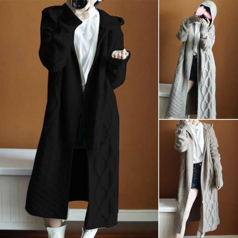 Women's  Hooded Cardigan Coat Jacket Outwear Knit Sweater Long Sleeve Jumper