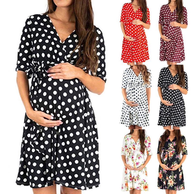 Schwangere Damen Umstandsmode Schwangerschaftskleid Tunika Sommer Stillkleid