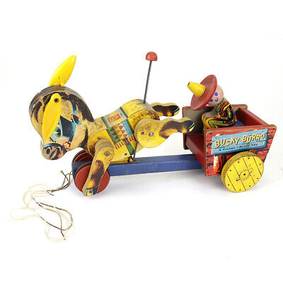 Vintage Fisher Price Toys #166 Bucky Burro Pull Toy