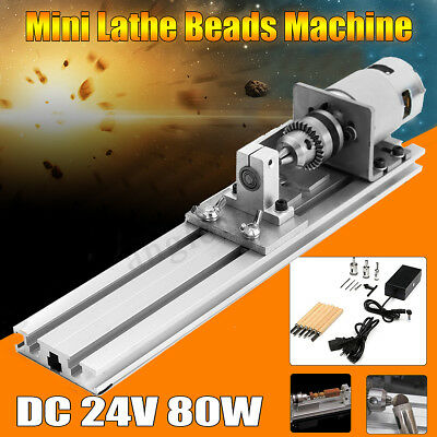 24v Dc 80w Mini Lathe Beads Machine Woodwork Diy Lathe Standard Set Wpower