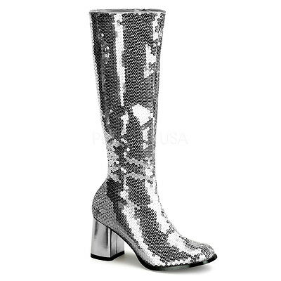 Silver Sequin GoGo 70s Disco Dancer 60s Hippie Costume Knee Boots Woman 7 8 9 10