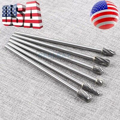 10mm Rotary Aluminum Cut Burr 6mm 14 Shank 150mm Long Reach Carbide Burs 6pcs
