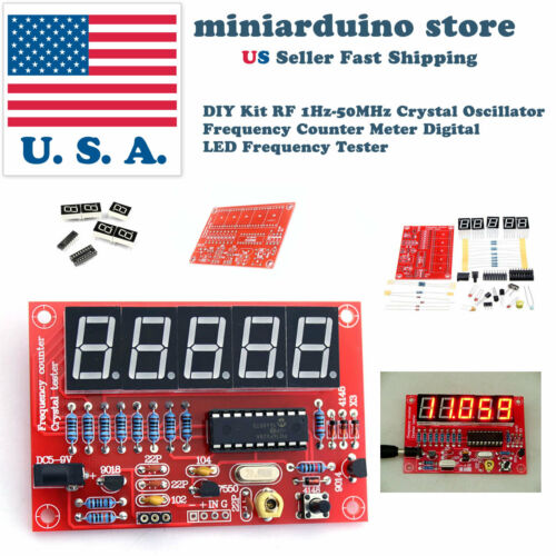 DIY Kit RF 1Hz-50MHz Crystal Oscillator Frequency Counter Meter Digital LED USA