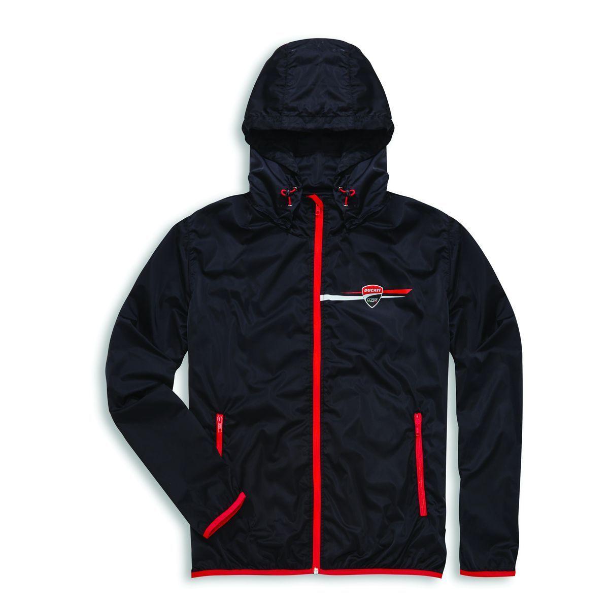 Ducati Corse Stripe Regenjacke Motorrad Rain Jacket Freizeit wasserdicht schwarz