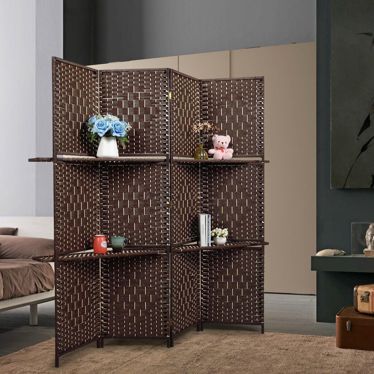 4 Panel Room Divider w/4 Display Shelves 5.9ft Folding Frees