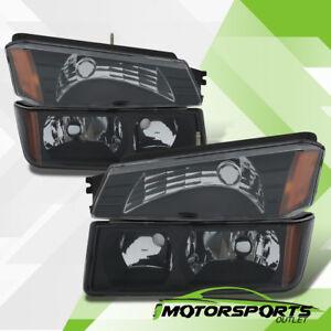 2002-2006 Chevy Avalanche Body Cladding Model Headlights+Bumper Signal Lamps Set