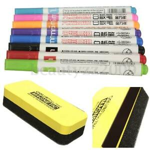 Whiteboard Markers White Board Erasable Marker Pens 8Colors Set + Eraser Rubber