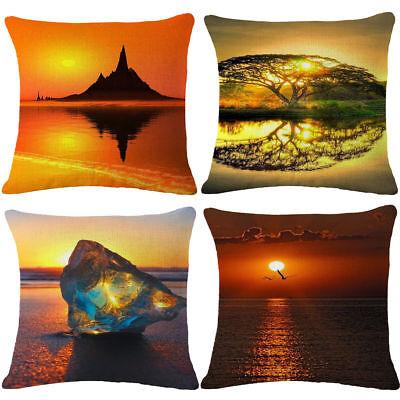 18'' Fashion Sunset Cotton Linen Pillow Case Sofa Cushion Cover Home Decor