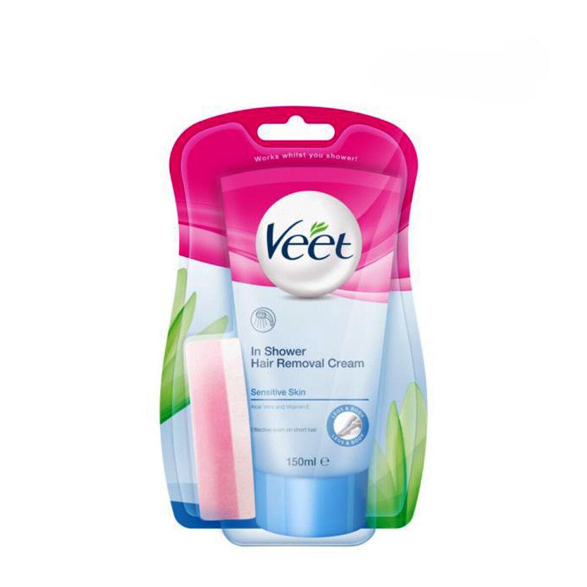 VEET In Shower Hair Removal Cream + Sponge for Sensitive