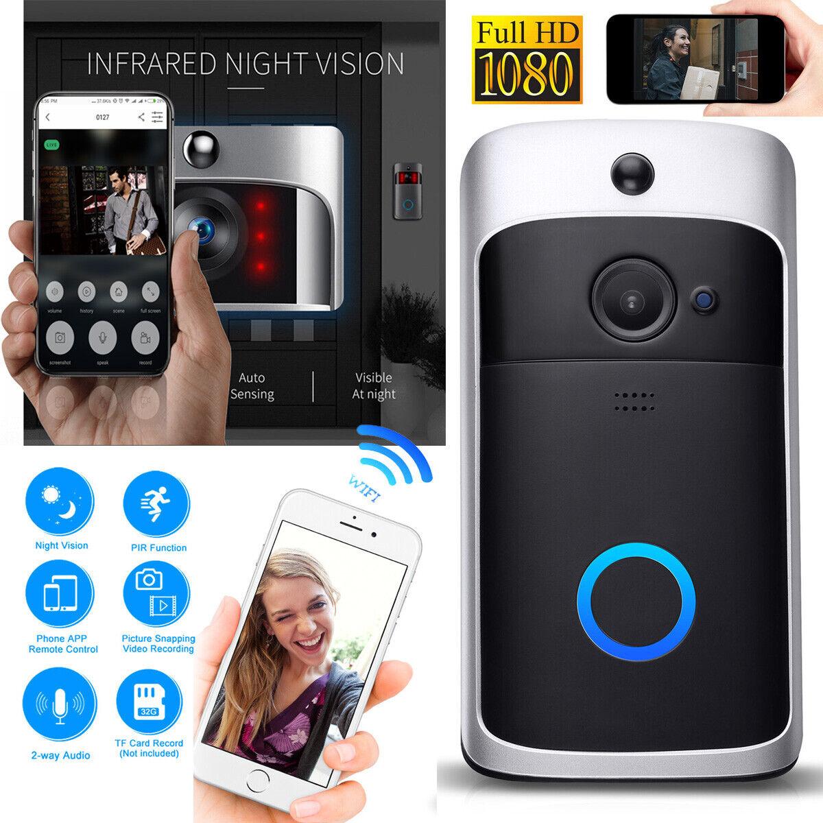 WiFi Wireless Doorbell Video Two-Way Talk Smart PIR Door Bel