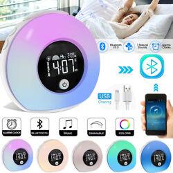 Sunrise Alarm Clock Radio Wake Up Light Digital Natural Bedroom Music Therapy