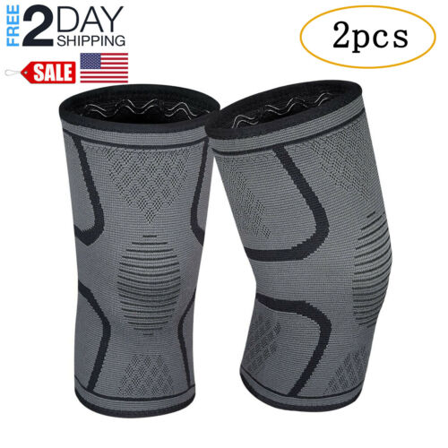 2Pcs Knee Sleeve Compression Brace Support Sport Joint Pain