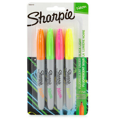 4pk Neon Sharpie Permanent Markers Fine Point Bright Colors