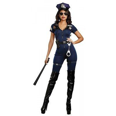 Cop Costume Adult Police Woman Halloween Fancy Dress