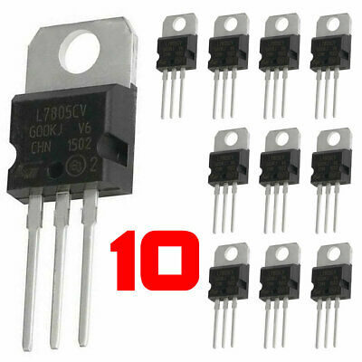 10 X Lm7805 L7805 7805 Ic Positive Voltage Regulator 5v 1.5a To-220 Usa