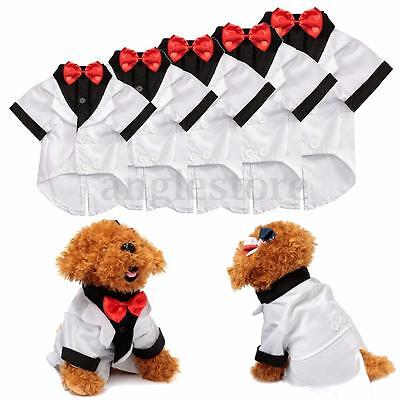 Dog Wedding Outfits (Dog Pet Tie Suit Clothes Puppy Shirt Wedding Tuxedo Outfit White Xmas Gift)