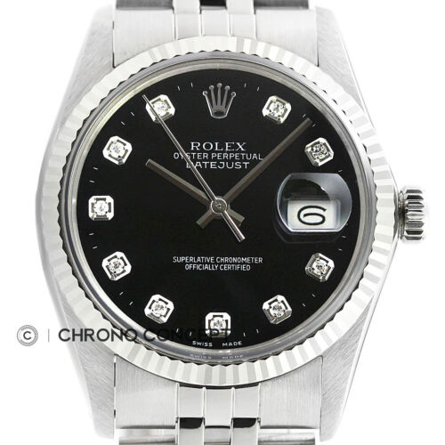 $2995.00 - Rolex Mens Datejust Black Diamond Oyster Perpetual 18K White Gold & Steel Watch
