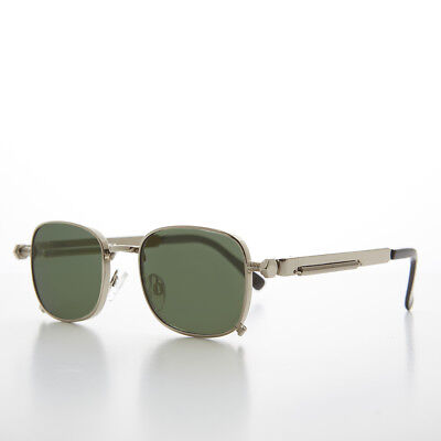 Tailored Silver Sunglass with Industrial Temples with Green Lens - (Tyga Sunglasses)