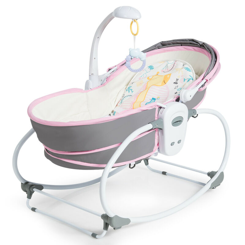 5 in 1 Portable Baby Rocking Bassinet Multi-Functional Crib w/Canopy